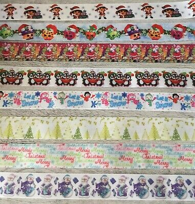 """Christmas Ribbons All Designs Sold by 2m 7/8"""" & 1""""  wide - Craft- Hair Bows"""