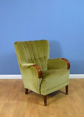 Mid Century Retro Danish Pale Green Velvet Art Deco Lounge Armchair 1940s