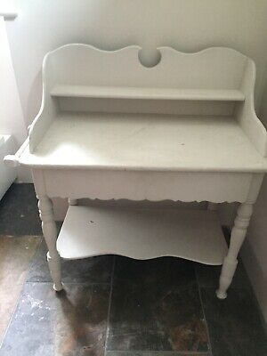 Old Pine Painted Wash Stand With Rail For Towel At The Side And A Drawer