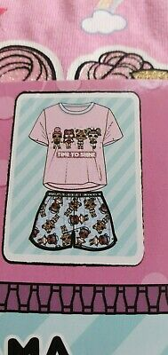 Primark LOL surprise Dolls girls shorts and T shirt pyjama set time to shine