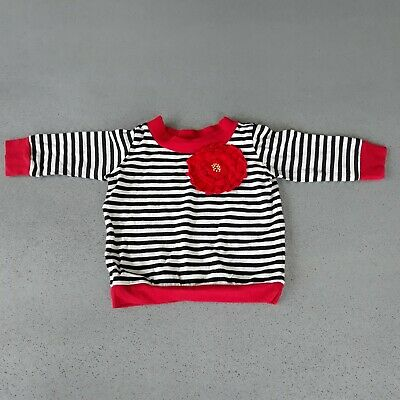 Girls Black White Red Stripe Top Size Age 2-3 Years