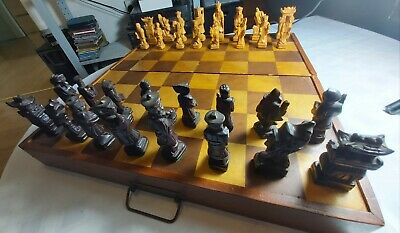 Superb Vintage Chinese Carved Wooden Chess Set Pieces Folding Inlaid Board