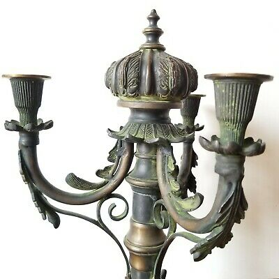 Antique Brass Bronze Candelabra 3 Arm Ornate French Heavy Candle Holder Gold