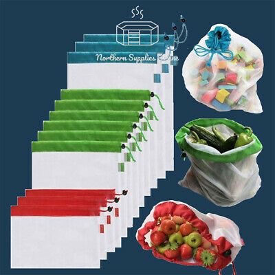 4/8/12 Reusable Mesh Produce Bags Grocery Fruit Vegetable Storage Shopping Eco