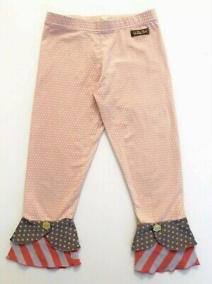 Matilda Jane ALDEN SCRAPPY Leggings 8 Pink Polka Dot Tulip Hem Friends Forever