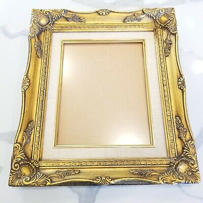 "Vintage Gold Picture Frame 15x13"" Ornate Linen Matte Wood Antique Gilt Mantel"