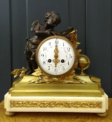 Antique French bronze mantelclock 'science' with putto / cherub