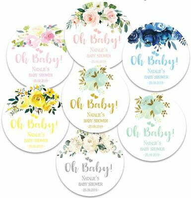 24 x  Personalised Baby Shower Round Stickers, Oh Baby, Party Favours