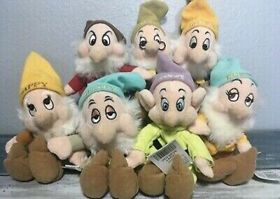 Walt Disney World Snow White and the Seven 7 Dwarfs Bean Bag Plush Set Dolls