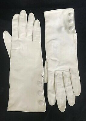 """Vintage Miss Aris White/ivory Kid Leather Gloves Size 7 - 11"""" Long"""
