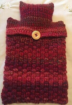 Hand Crochet Hot Water Bottle Cover / Hottie Cover - Red