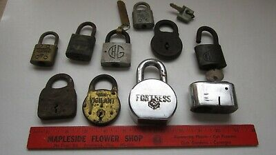 vintage padlock brass-FORTRESS Slaymaker Yale lot of 10 locks -no keys as is