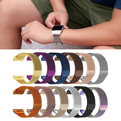 For Fitbit Ionic!L/S Magnetic Milanese Mesh SS Steel Wrist Band Bracelet Loop