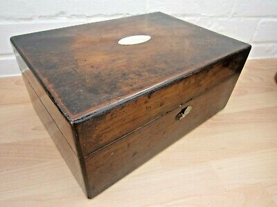 Antique Wooden Writing Box With Mother Of Pearl Lid Inlay (Restoration Project)
