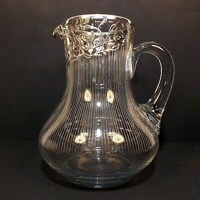 Antique 1900s Sterling Silver Floral Overlay Glass Water Pitcher Wine Jug 1750ml