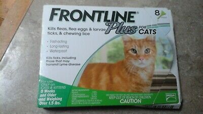 Frontline Plus Flea & Tick Control for Cats, Kittens Over 1.5 lbs, 8 Doses Box