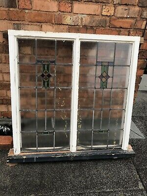 1930s stained glass window In Wooden Frame
