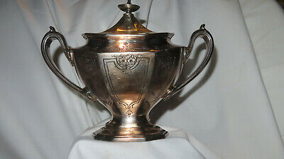 Reed and Barton embossed silver plate art deco lidded sugar bowl 3694