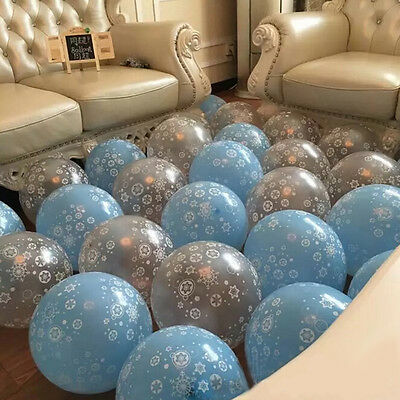 12X Silver/Blue Frozen Snowflake Printed Latex Balloons Kids Birthday Party LD