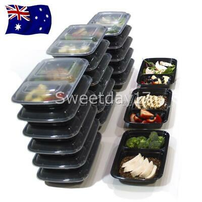 10Pcs Microwavable Meal Prep Containers Plastic Food Storage Reusable Box AU Y