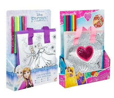 Girls Colour Your Own Frozen Tote Bag Kids Marker Craft Set Gift 3+y