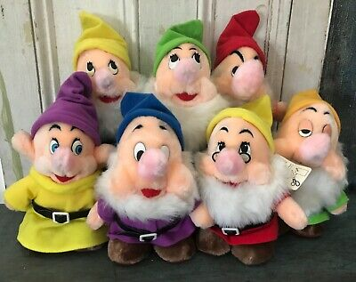 Vintage Walt Disney World Disneyland White & the Seven Dwarfs Plush Set of 7