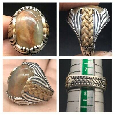 Very Old Middle East Moon Agte Stone Solid Silver With Gold Plated Uniqe Ring
