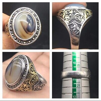 Beautifull Craved Moonlight Agte Solid Silver Middle East Style Uniqe Ring