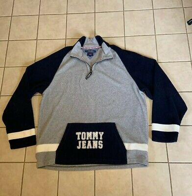Vtg 90's TOMMY HILFIGER Jeans Spell Out Pullover Fleece Jacket Sz 2XL