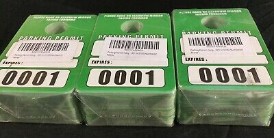 Parking Permit Hang Tags Blank Temporary Pass Green / White 3 Pks - 300 Ct Tags