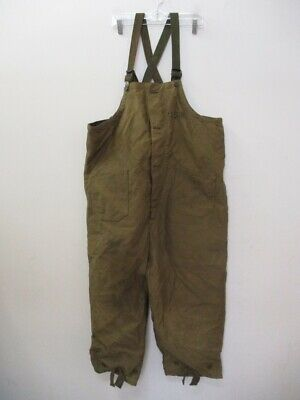 Vintage WWII US NAVY Stenciled Green Deck Bib Overalls Pants Size XL