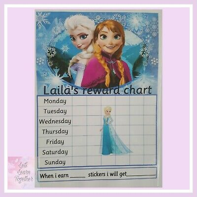 🎀 Children's Behaviour Chart - Reward / star Frozen Chart. FULLY RE-USABLE,  🎀