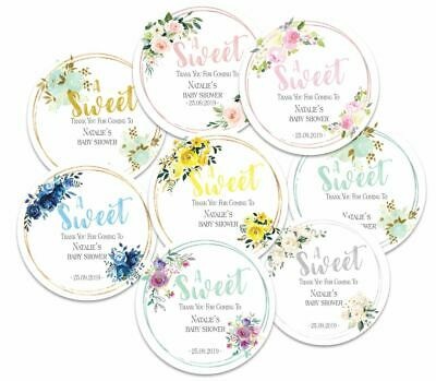 24 x  Personalised Baby Shower Round Stickers, A Sweet, Party Favours
