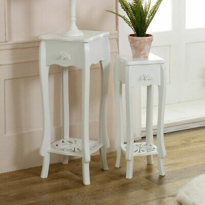 white lamp occasional side table set 2 french shabby vintage chic hallway plant