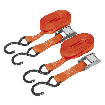 Td2550Cs Sealey Cam Buckle Tie Down 5Mtr Polyester Webbing S Hooks 250Kg