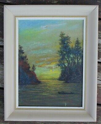 """Framed """"Muskoka Sunset"""" Landscape Painting By Canadian Ted Gallaway - Circa 1968"""