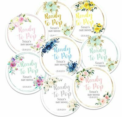 24 x  Personalised Baby Shower Round Stickers, Ready to Pop, Party Favours