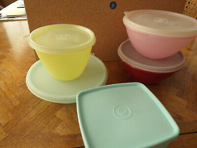 Vintage Tupperware Lot 5 Bowls/Containers, With Lids