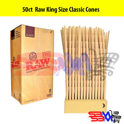 RAW CLASSIC KING SIZE Cones Unrefined Hemp Pre-Rolled w/ Filter - 50 Pack