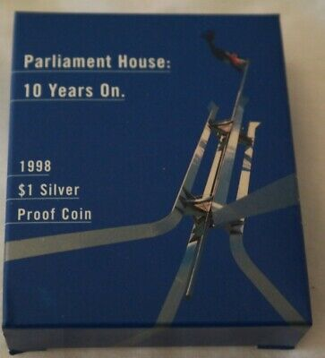 1998 1oz Silver Proof New Parliament House Dollar Coin. Cert No: 8347