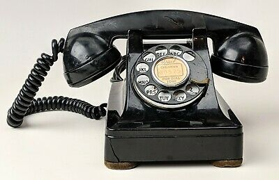 Vintage Pre WWII Western Electric 302 Telephone Rotary Dial Phone Leather Feet