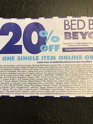 Bed Bath and Beyond 20% Off One Single Item Coupon Exp 10/14/19 Online Delivery