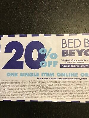 Bed Bath and Beyond 20% Off One Single Item Coupon Exp 10/7/19 Online Delivery