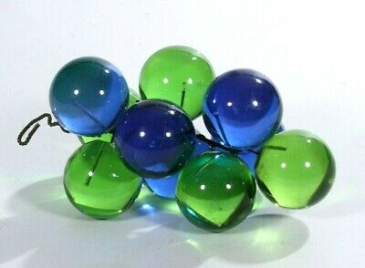 """Vintage Mid-Century Lucite Acrylic 8.5"""" Grape Cluster Blue & Green Large"""