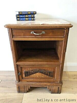 French Vintage Art Deco Marble Topped Walnut Side Cabinet Bedside - TA063