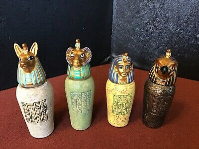 4 Small Egyptian Canopic Jars Resin  Hand Painted Horus Anubis King Tut  Khnum