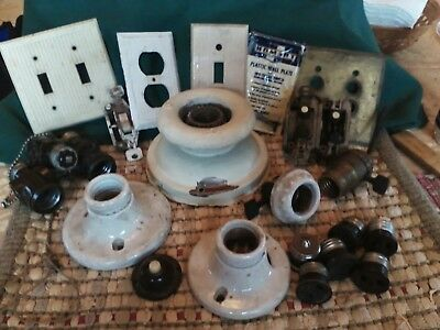 Antique electrical hardware light fixtures plugs switches OLD - parts only 24+