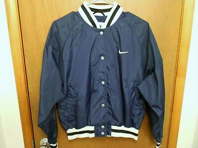 Vintage Navy Blue Nike Jacket Bomber Track Lightweight Made In Thailand Nylon