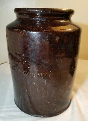 Very Old Antique Redware Crock With Brown Glaze On Outside Excellent Condition