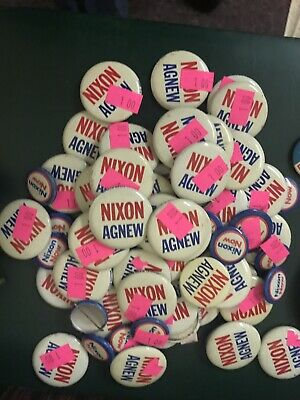 Large Lot of VINTAGE NIXON-AGNEW PRESIDENTIAL PIN-BACK CAMPAIGN BUTTON